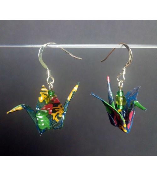 Pendientes grullas colores de origami en plata