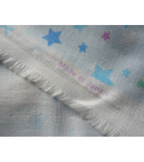 Tela japonesa. Estrellas azules sobre fondo azul
