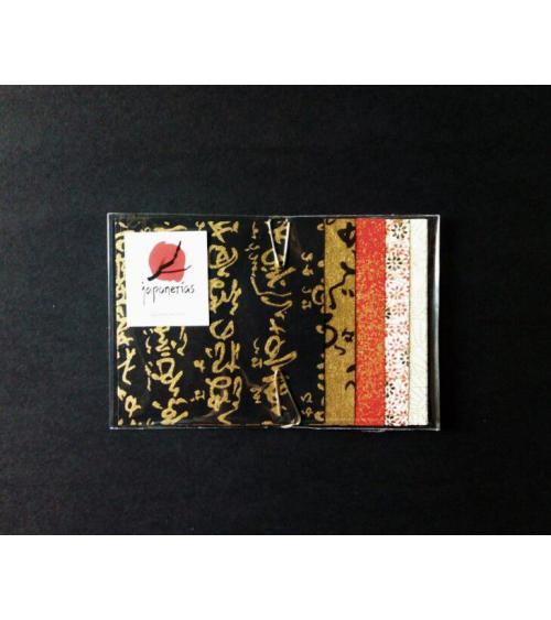 Kit papel origami en rojo, negro y blanco. 7,5x7,5cm.