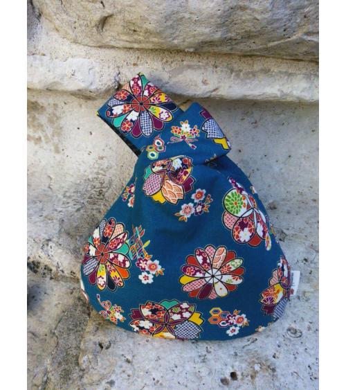 Bolso de mano japonés algodón reversible azul