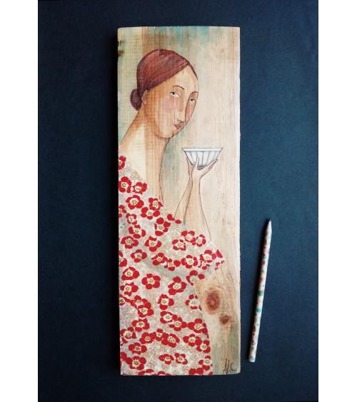 Tabla mujer con vestido de amapolas