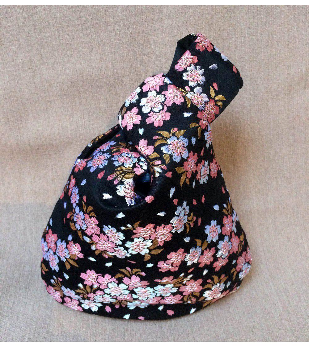 Bolso de mano en brocado con sakuras