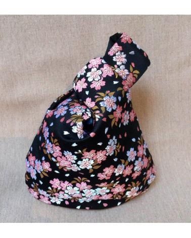 Bolso de mano japonés en brocado con sakuras