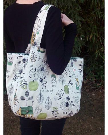Japanese cotton handbag in tane tones. XXL size