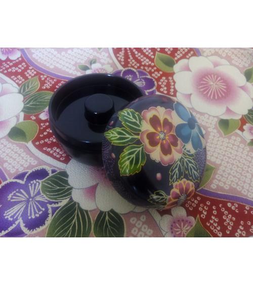 Cajita para té con motivos Yuzen en violeta