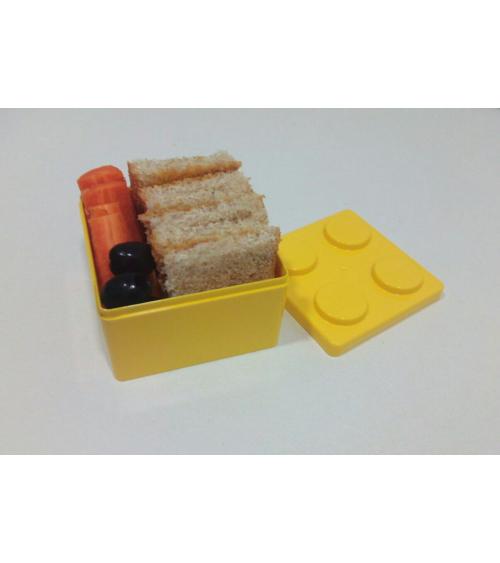 Bento box tipo Lego pequeña amarilla