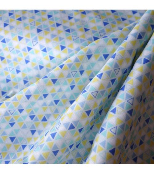 Tela japonesa. Doble gasa triángulos amarillo y tonos azul