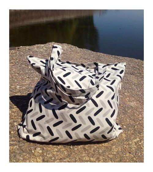 Bolso tote bag japonés cremallera espigas grises y negras