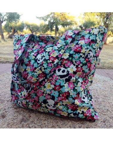 Tote bag panda and flowers zipper