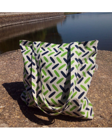 Tote bag with zipper. Green spikes