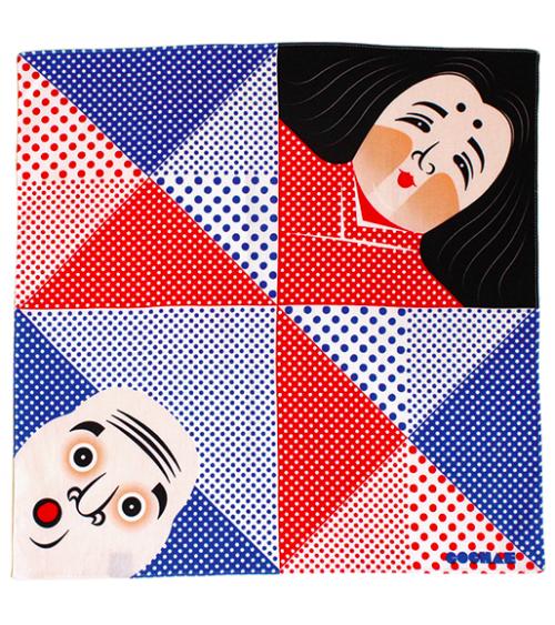 Furoshiki. Hyottoko & Okame (48 cm x 48 cm)