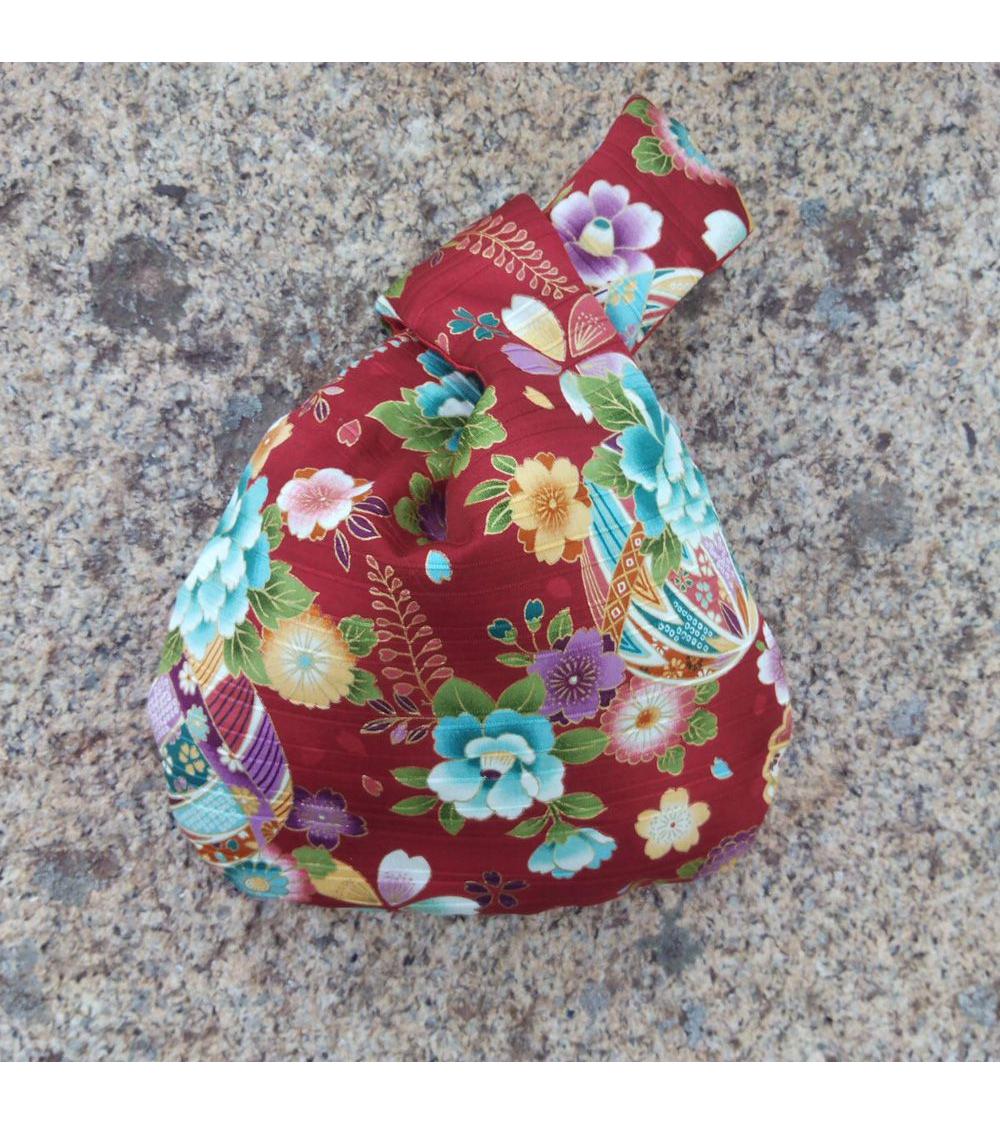Bolso de mano japonés satin de algodón rojo con temari