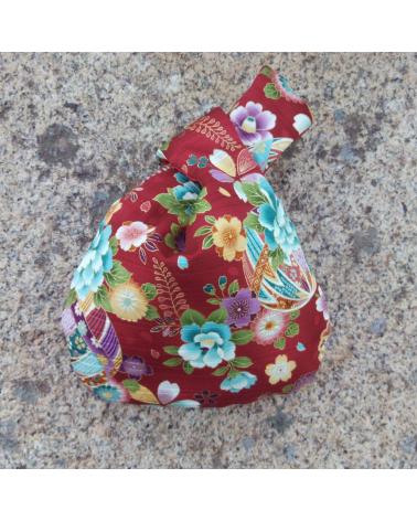 Bolso de mano satin de algodón rojo con temari