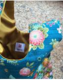 Bolso de mano japonés satin de algodón azul mariposas y flores