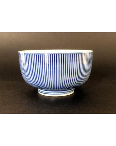 Cuenco en porcelana con líneas azul cobalto
