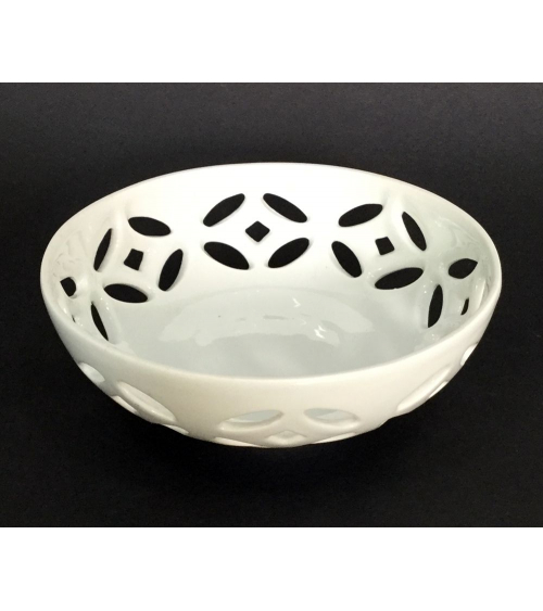 White lattice bowl of porcelain