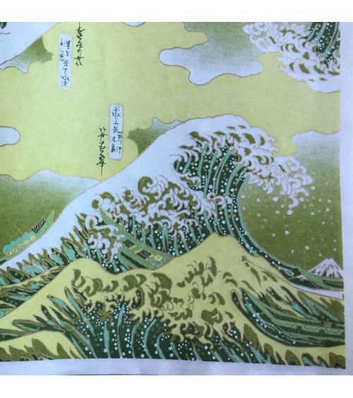 Papel chiyogami La Gran Ola en verde