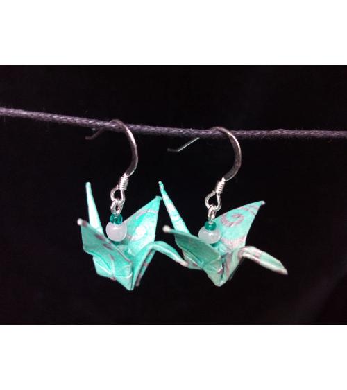 Pendientes grullas origami verde agua en plata