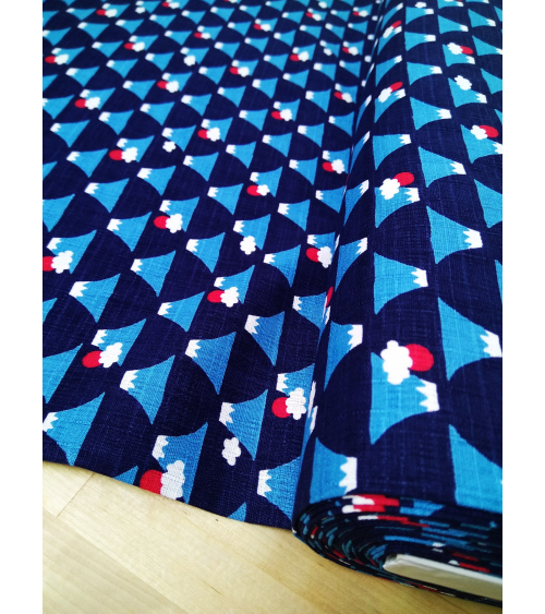 Japanese dobby fabric. Fuji-san over navy blue.