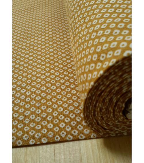 Japanese cotton fabric. Mustard yellow shibori.
