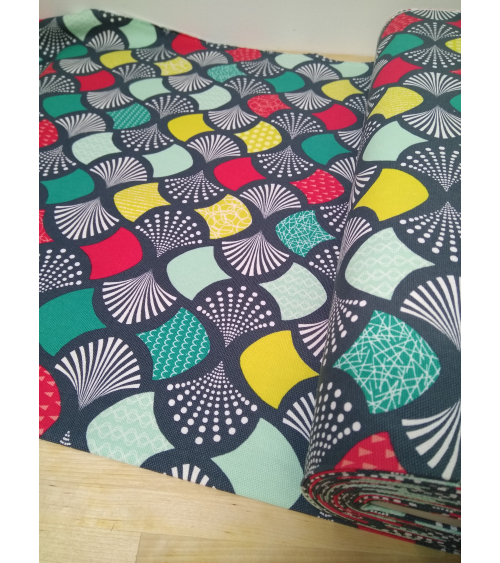 Oxford japanese fabric with colorful fans over grayish green