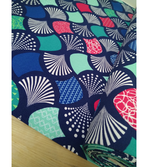 Oxford Japanese fabric with colorful fans over Navy blue
