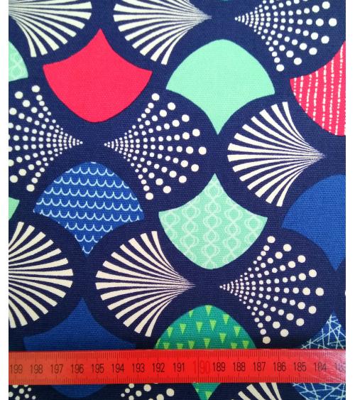 Tela japonesa tipo oxford. Azul Navy con abanicos coloridos.