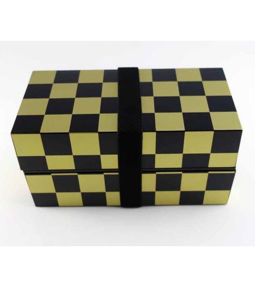 Bento box (Lunch box) damero dorado y negro
