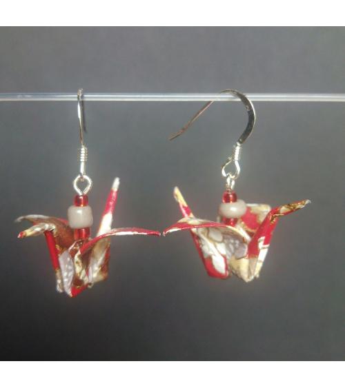 Pendientes grullas origami rojo-gris en plata