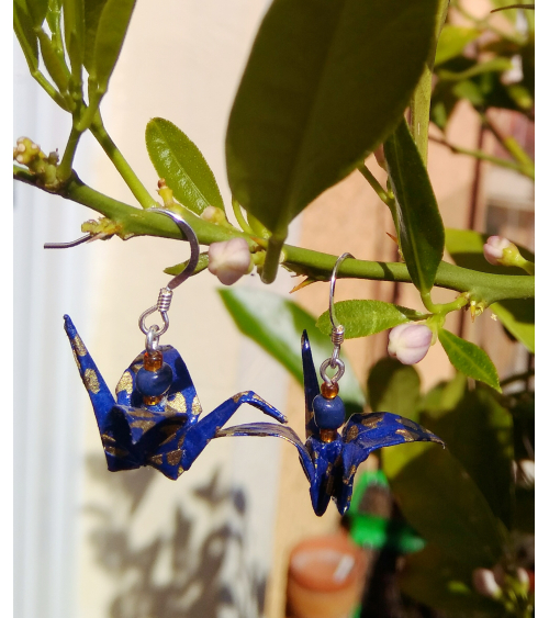 Deep blue origami cranes Earrings. Silver.