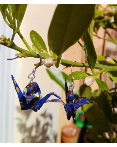 Pendientes grullas origami azul y dorado en plata