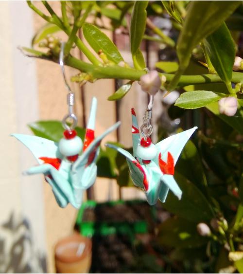 Pendientes grullas origami verde azulado y coral en plata