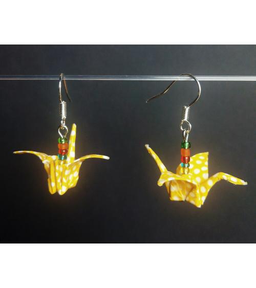 Pendientes grullas de origami amarillos