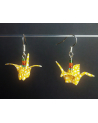 Yellow origami cranes earrings