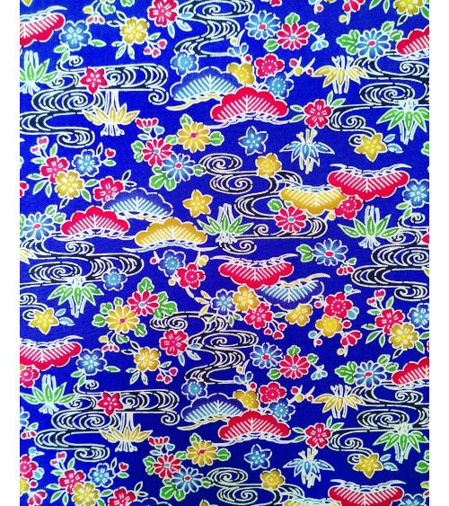 Japanese fabric. Bingata floral print over royal blue.