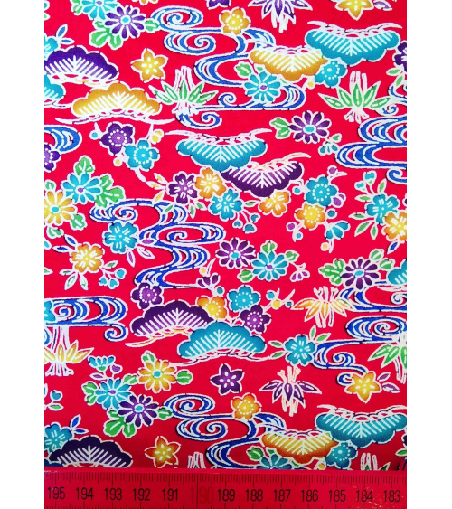 Japanese fabric. Bingata floral print over red.