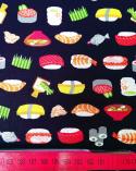 Tela japonesa. Sushi sobre fondo negro