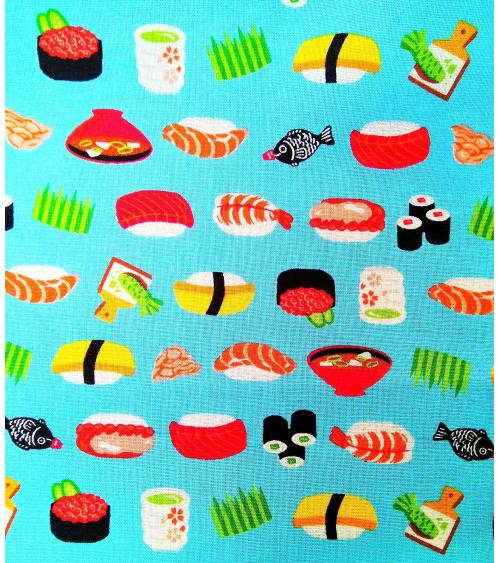 Japanese fabric. Sushi over turquoise blue