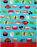 Tela japonesa. Sushi sobre fondo turquesa