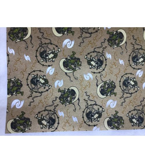 Chiyogami paper, Fujin and Raijin over golden