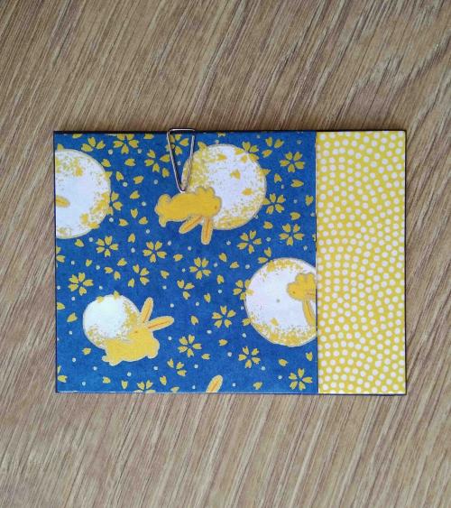 Kit papel origami 3+3 hojas. Conejitos y lunas. 7,5x7,5cm.