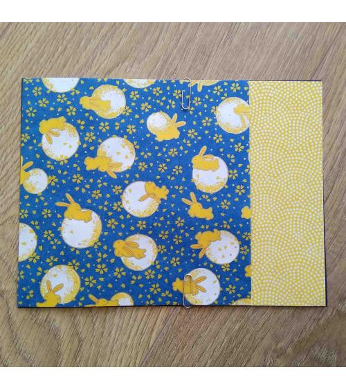 Kit papel origami 2+2 hojas. Conejitos y lunas. 15x15cm.