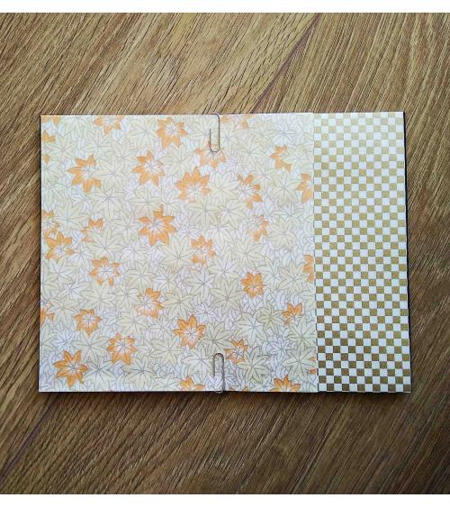 Kit papel origami 2+2 hojas. Hojas de arce. 15x15cm.