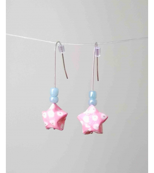 Pendientes estrellitas origami rosa en plata