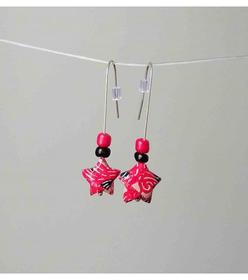 Pendientes estrellitas origami rojo y negro en plata