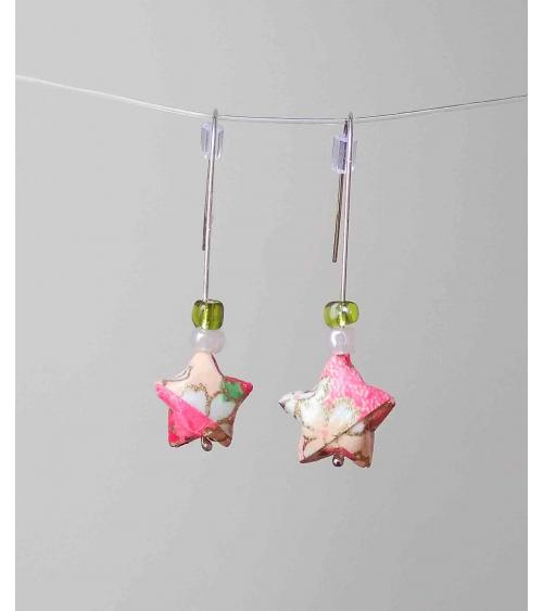 Pendientes estrellitas origami flores rosas en plata