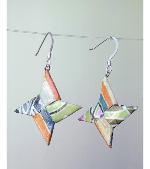 Pendientes shuriken origami multicolores en plata
