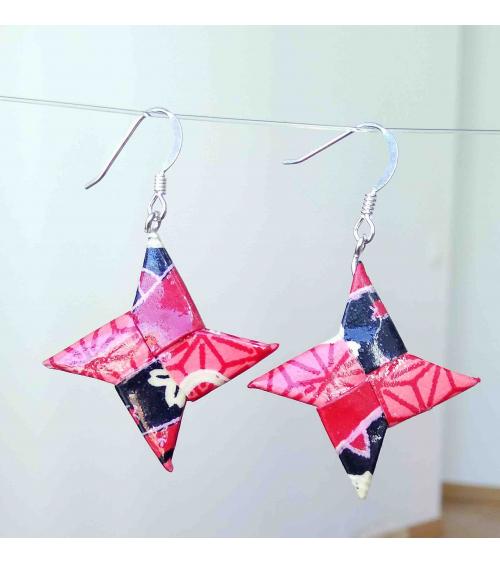 Pendientes shuriken origami en rojos en plata