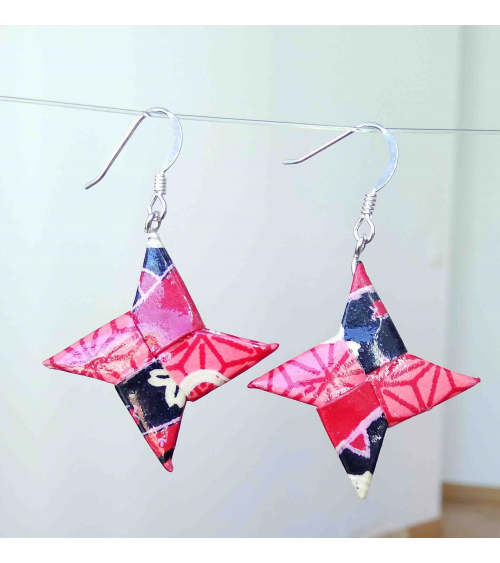 Red and black origami shuriken Earrings. Silver.