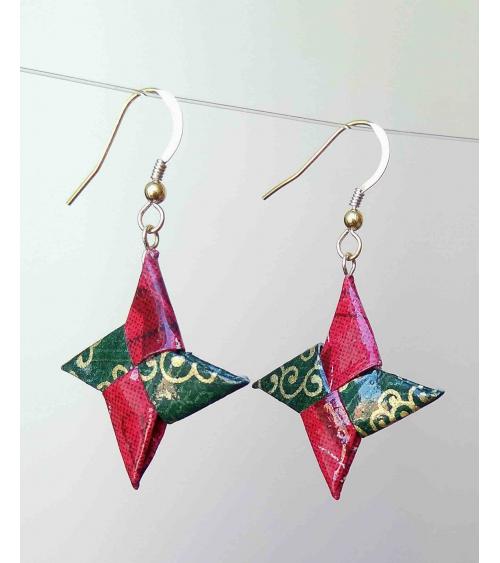 Pendientes shuriken origami rojo y verde. Goldfilled